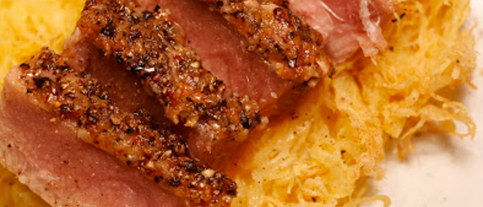 Tuna steak with spaghetti squash, healthy meal ideas