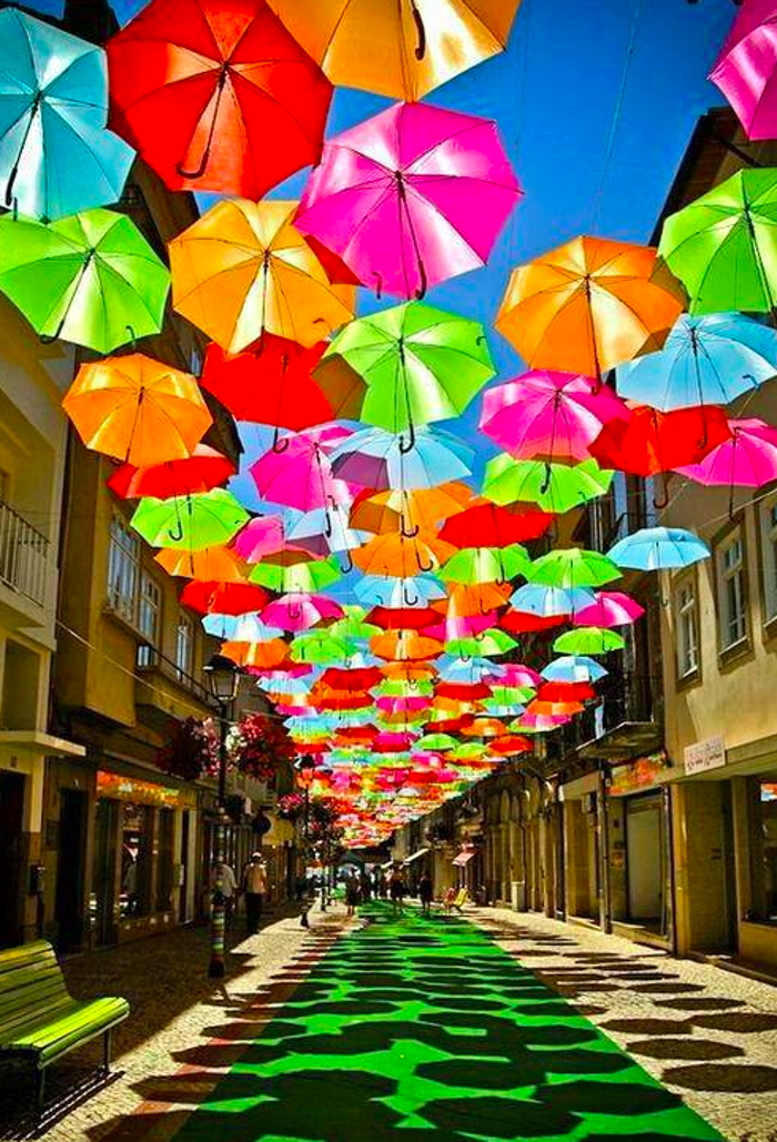 colorful hanging umbrellas