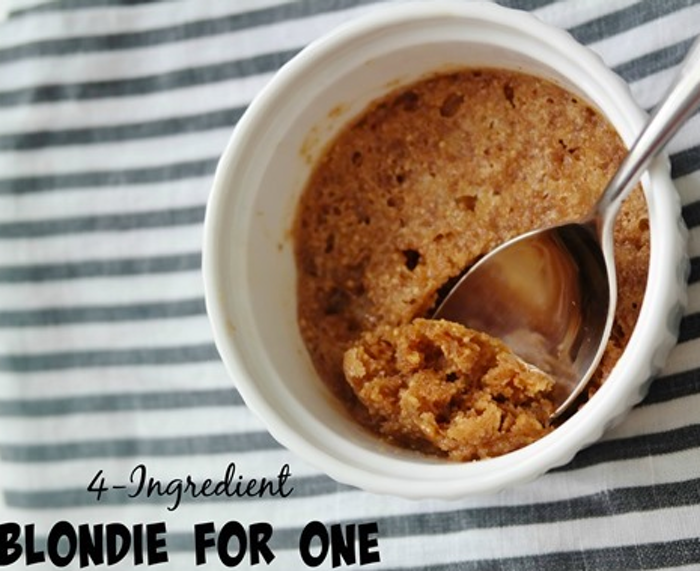 4-ingredient blondie for one, easy desserts, no bake desserts