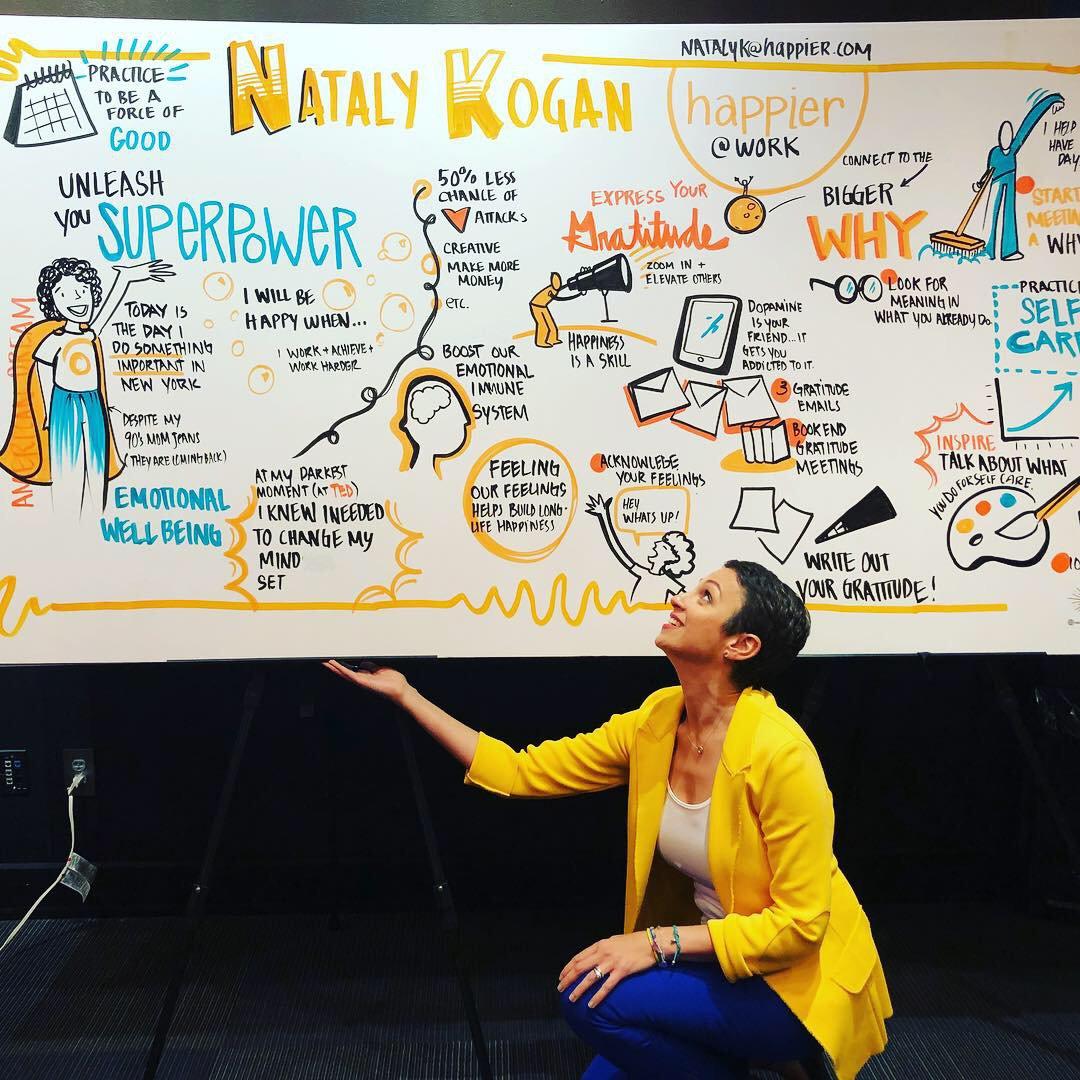 Nataly holding up visualization of talk - Pendulum