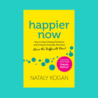 happier now paperback on teal